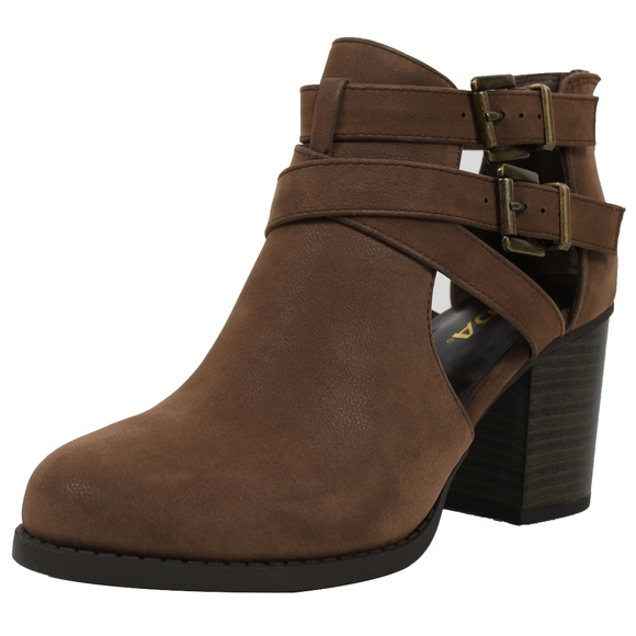 53a3489227e16 Brown Cutout Double Buckle Block Heel Ankle Boot